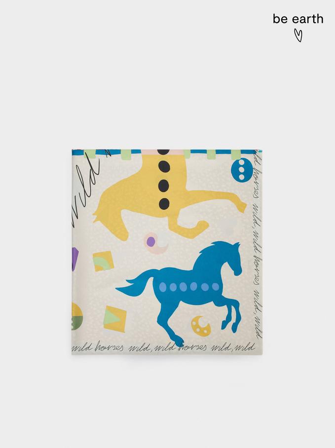 Foulard Quadrato Stampato In Materiali Riciclati, Multicolore, hi-res