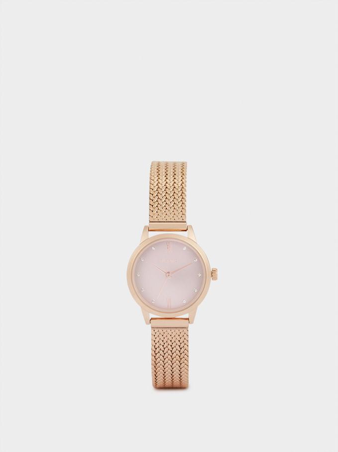 Zegarek Ze Stalowym Paskiem I Tarcza Z Cyrkoniami, Pomaranczowy, hi-res