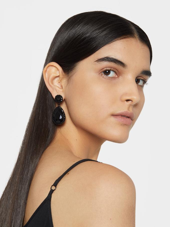 Star Dust Earrings, Black, hi-res
