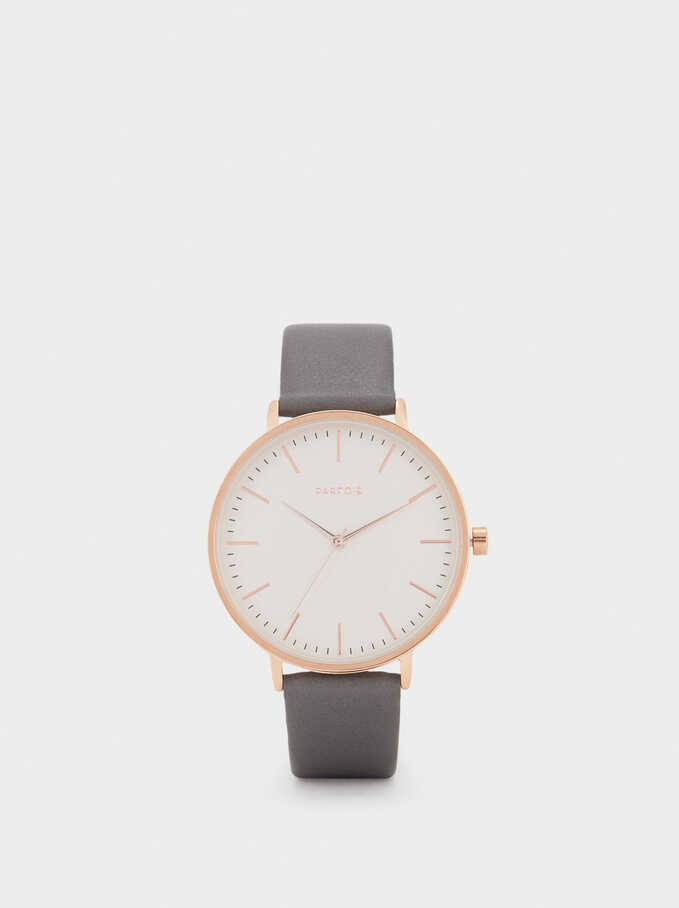 Watch With Leather Texture Strap, Grey, hi-res