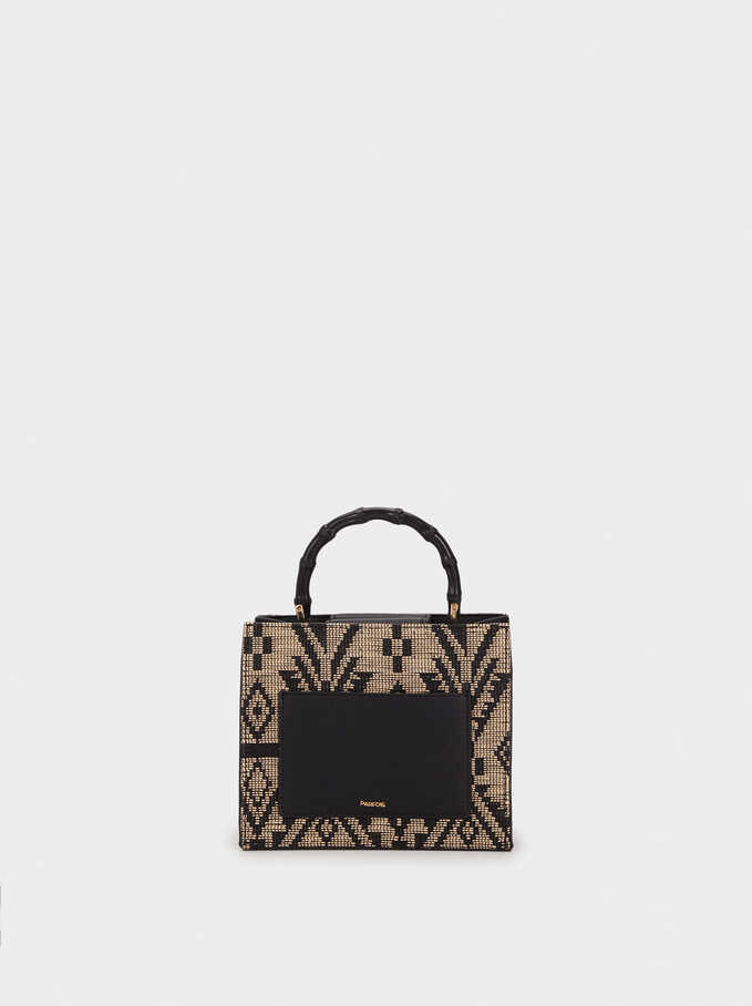 Clutch With Bamboo Strap, Black, hi-res