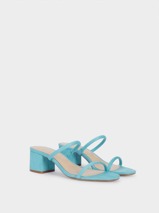 Heeled Sandals With Straps, Blue, hi-res