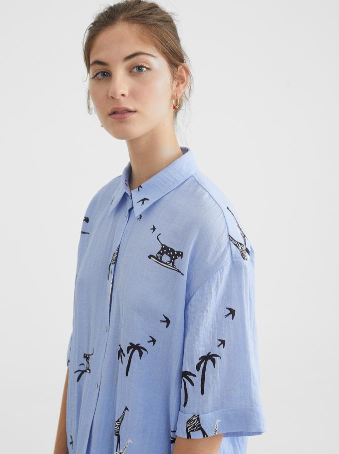 Camisa Oversize Estampado Animales, Azul, hi-res