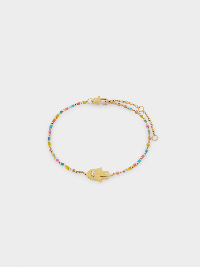 Stainless Steel Bracelet With Beads And Charm, Multicolor, hi-res