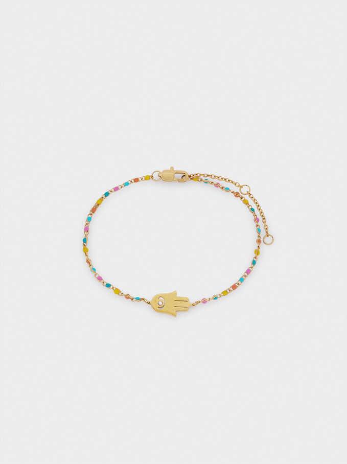 Bracelet En Acier Avec Perles Fantaisie Et Charm, Multicolore, hi-res