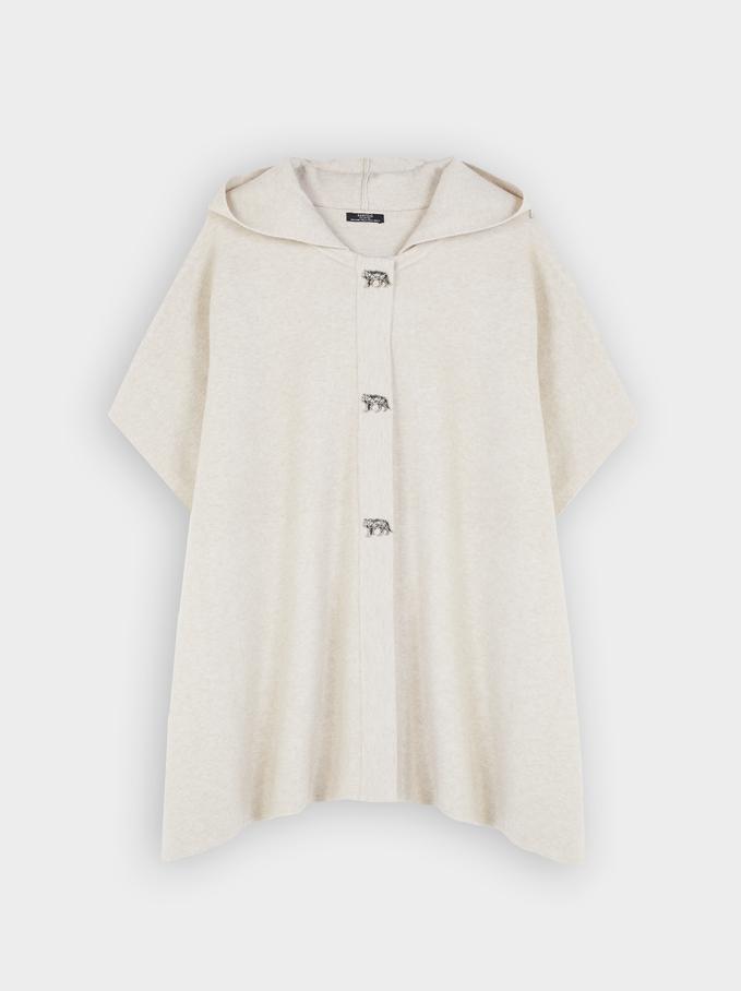 Hooded Knit Poncho, Ecru, hi-res