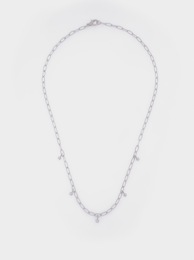 Short Chain Necklace With Stars, Silver, hi-res
