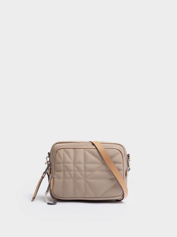 Suede Textured Crossbody Bag, Ecru, hi-res