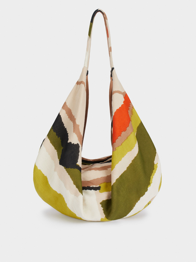 Bolso Shopper Estampado, Beige, hi-res