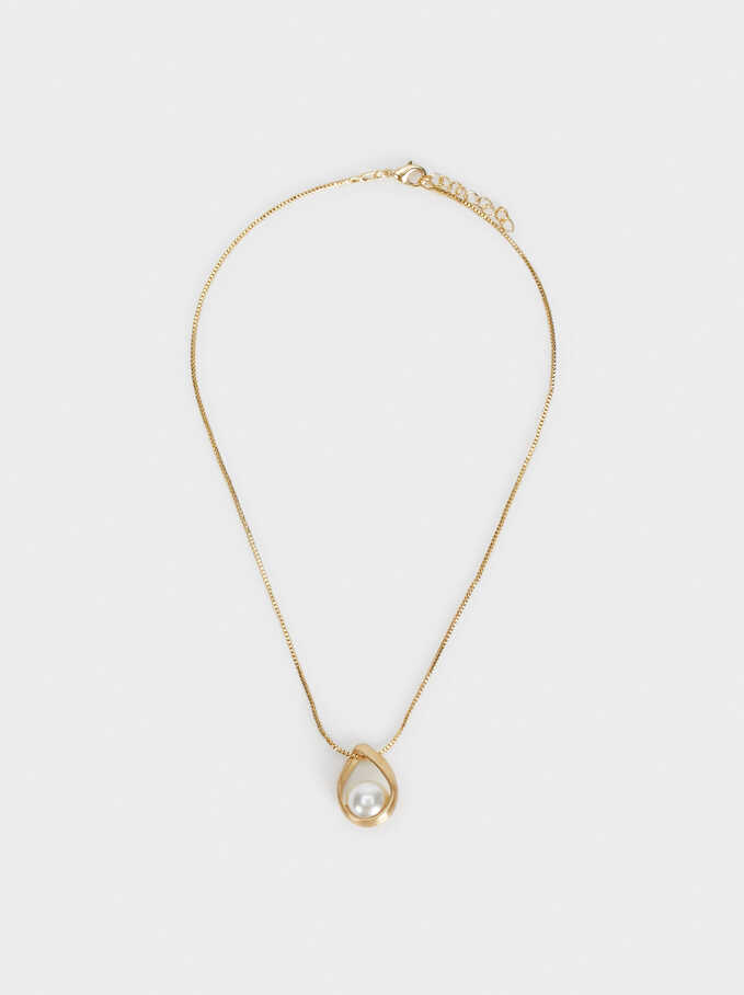 Short Necklace With Pearl Bead, , hi-res