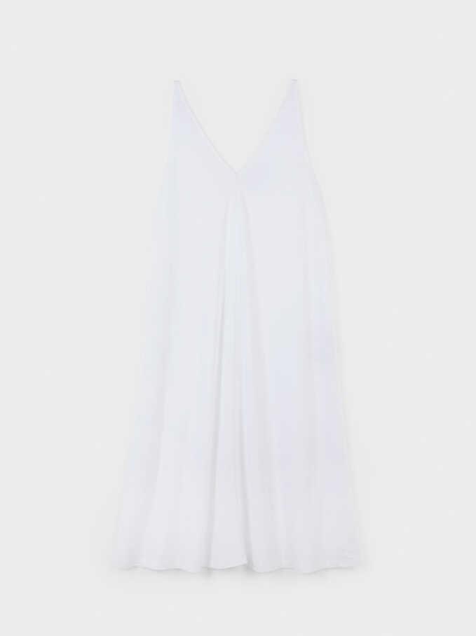 Flowing V-Neck Dress , White, hi-res