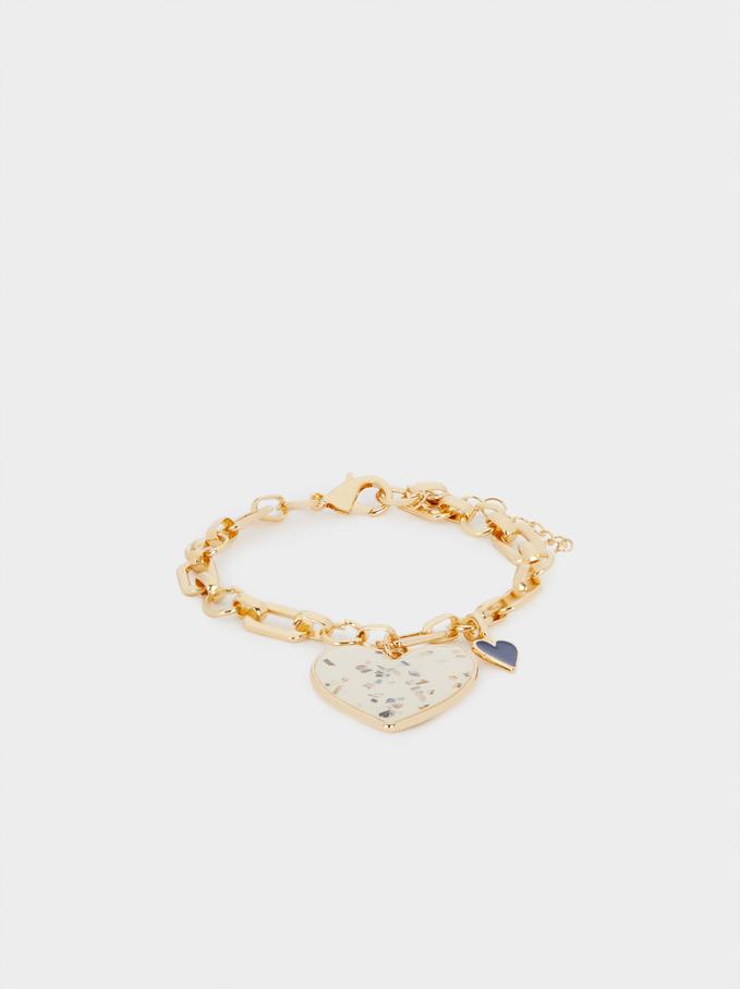 Bracelet Maillons Avec Cœur, Multicolore, hi-res