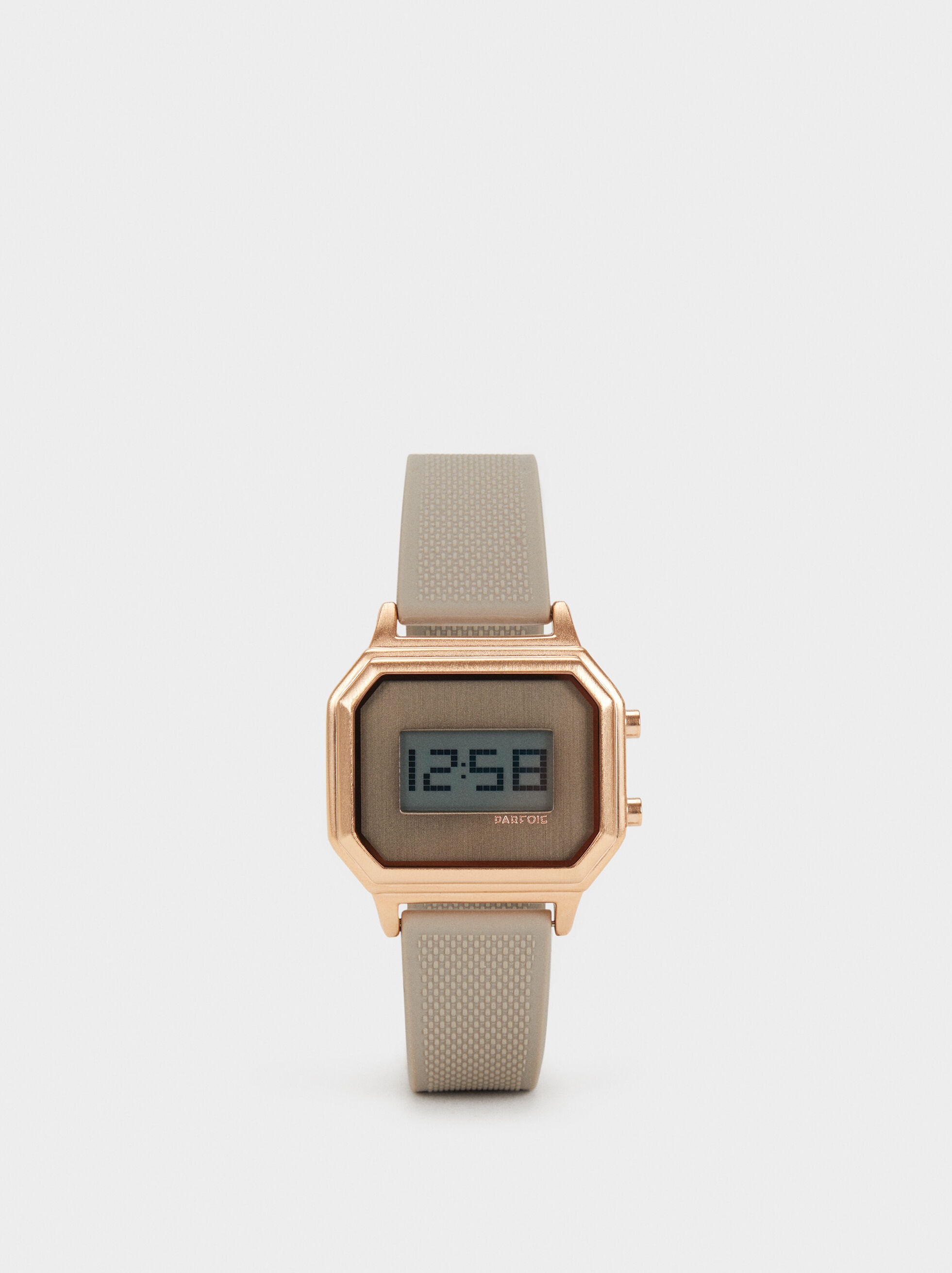 Digital Watch With Silicone Strap, Brown, hi-res