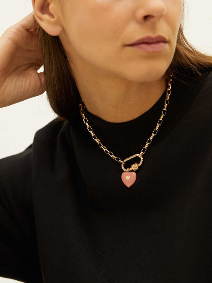 Short Necklace With Heart, Pink, hi-res