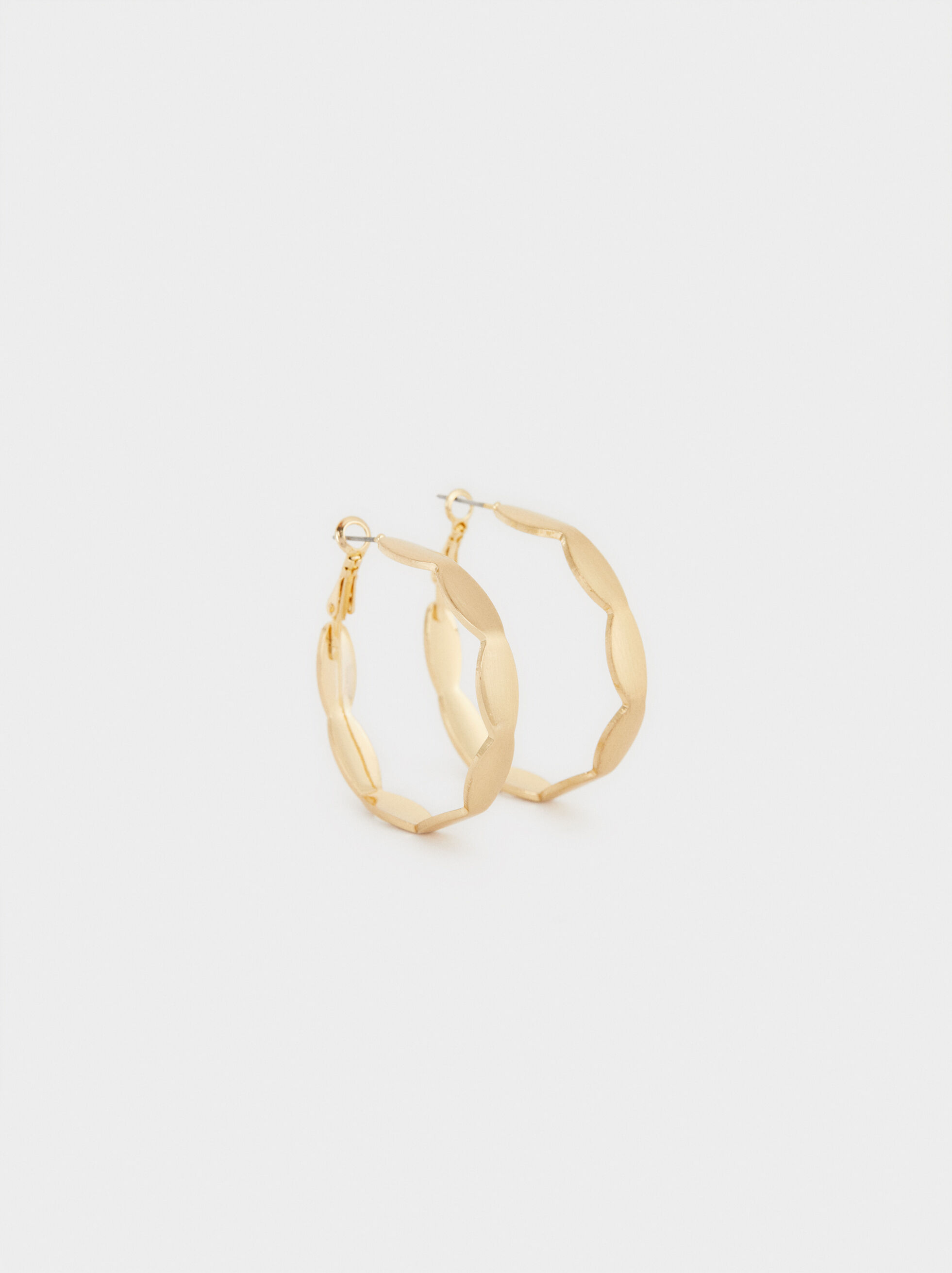 Basic Hoop Earrings With Gold Finish, , hi-res