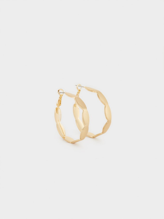 Basic Hoop Earrings With Gold Finish, Golden, hi-res