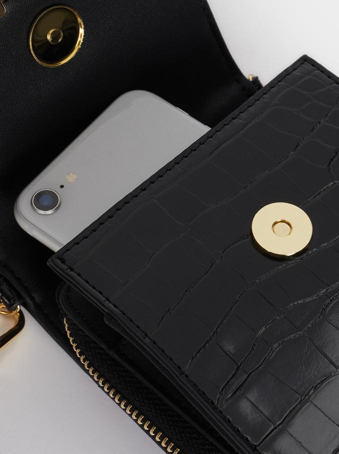 Embossed Animal Print Mobile Phone Case, Black, hi-res