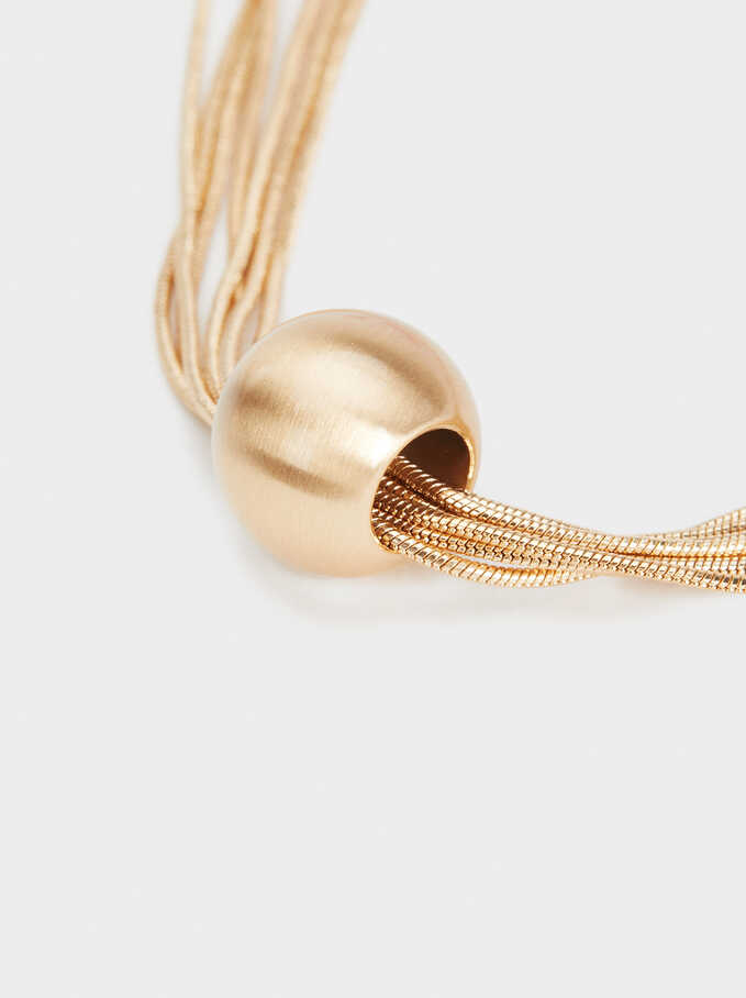 Short Necklace With Sphere, Golden, hi-res