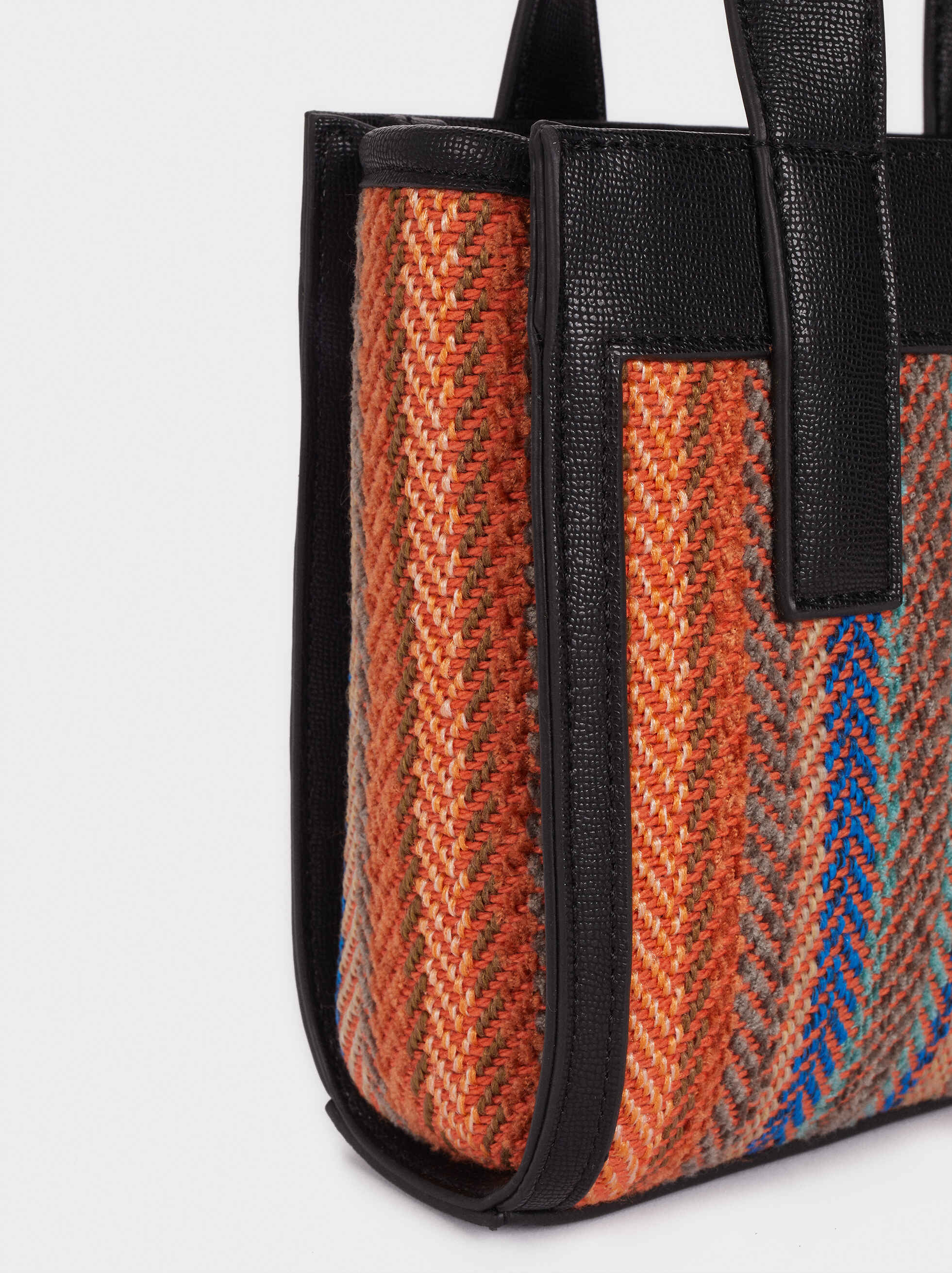 Bolso Bombonera Trenzado Multicolor, Naranja, hi-res