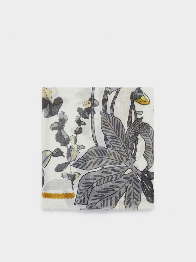 Foulard Imprimé Floral, Écru, hi-res