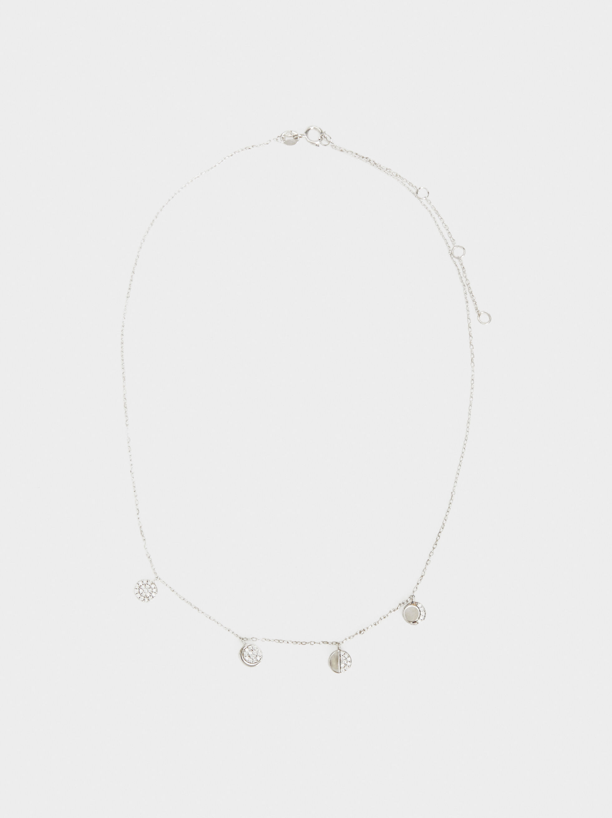 Short 925 Silver Necklace With Moon Pendants, Silver, hi-res