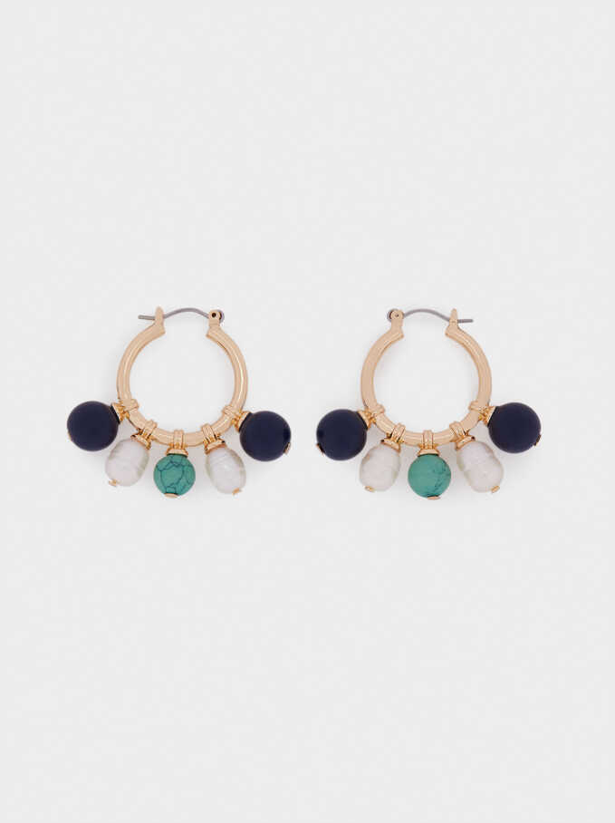 Hoop Earrings With Stones And Pearls, Blue, hi-res