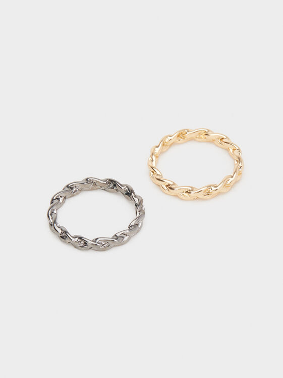 Set Of Braided Rings, Multicolor, hi-res