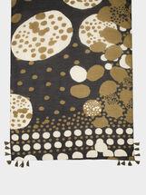 Printed Scarf With Tassels, Khaki, hi-res