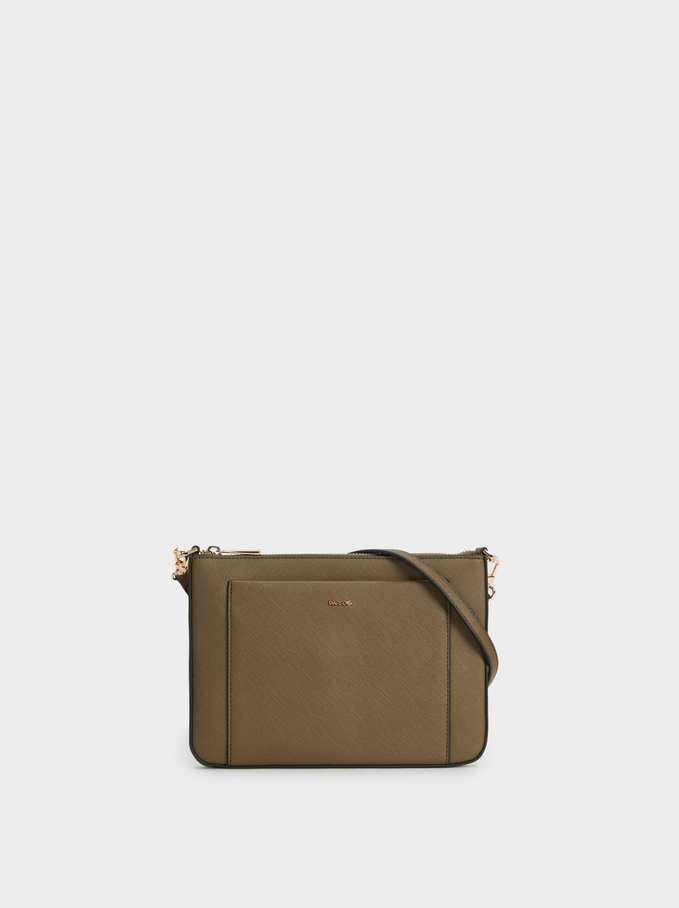 Plain Crossbody Bag, Khaki, hi-res