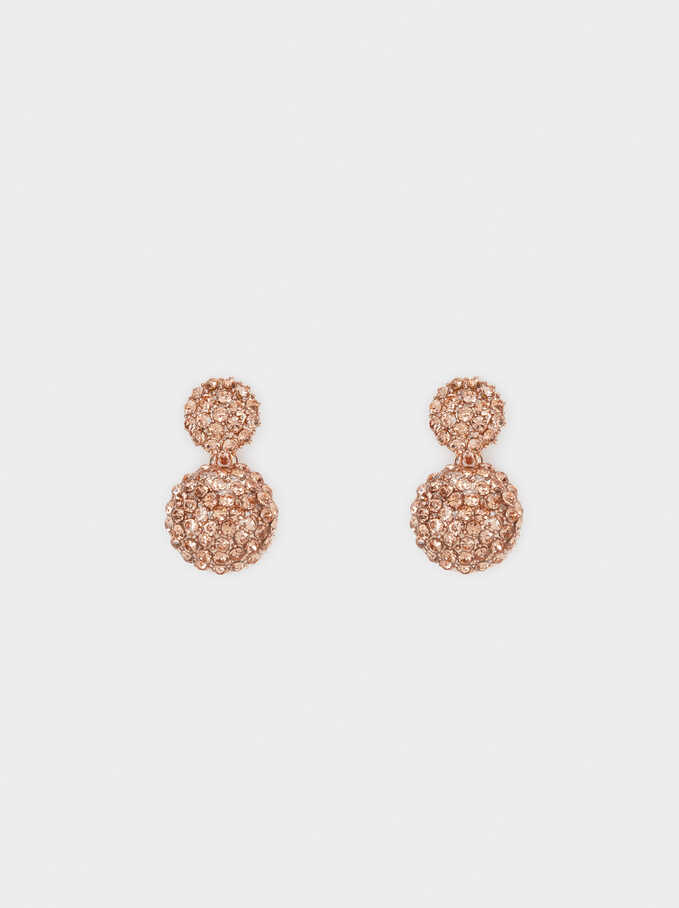 Small Earrings With Crystals, Orange, hi-res
