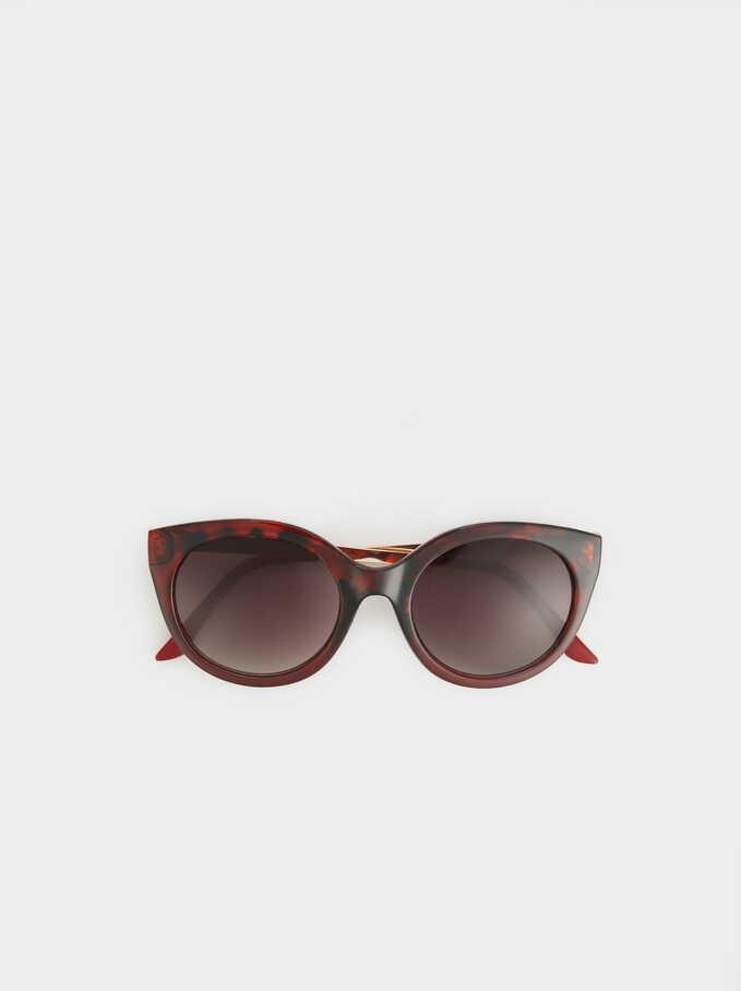 Round Tortoiseshell Sunglasses, Red, hi-res