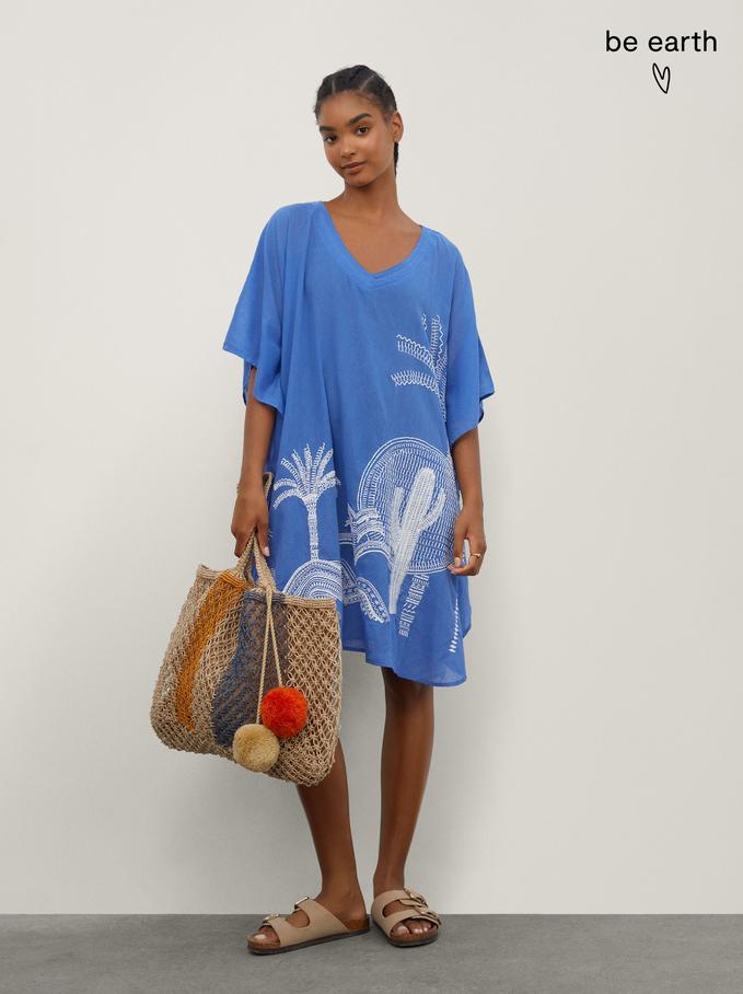 100% Cotton Kimono With Embroidery, Blue, hi-res