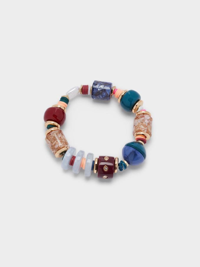 Bracelet Élastique Avec Perles Fantaisie, Multicolore, hi-res