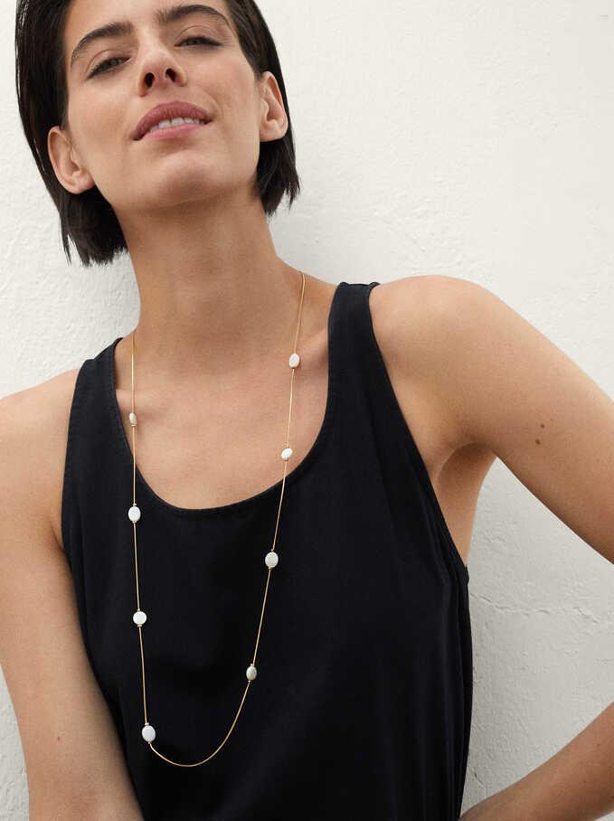 Long Shell Necklace, Golden, hi-res