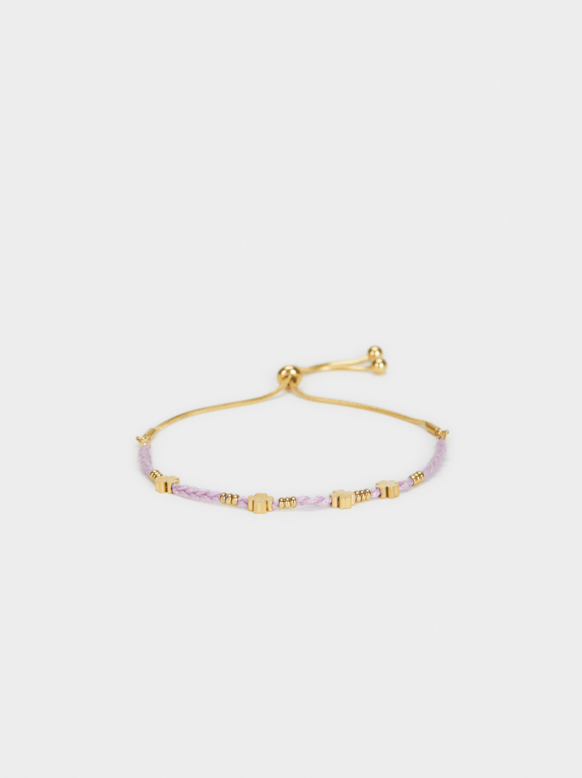 Stainless Steel Gold Adjustable Bracelet, Violet, hi-res