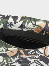 Printed Nylon Shoulder Bag, Black, hi-res