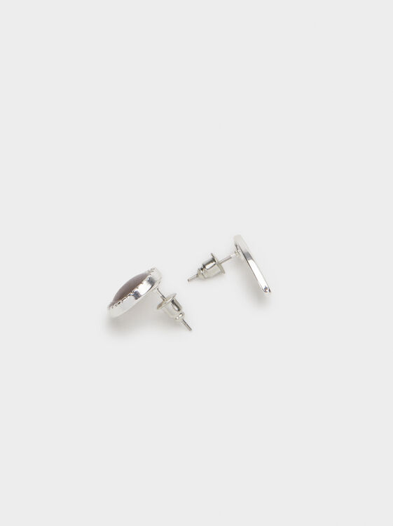Set Of Gem Stud Earrings, Silver, hi-res