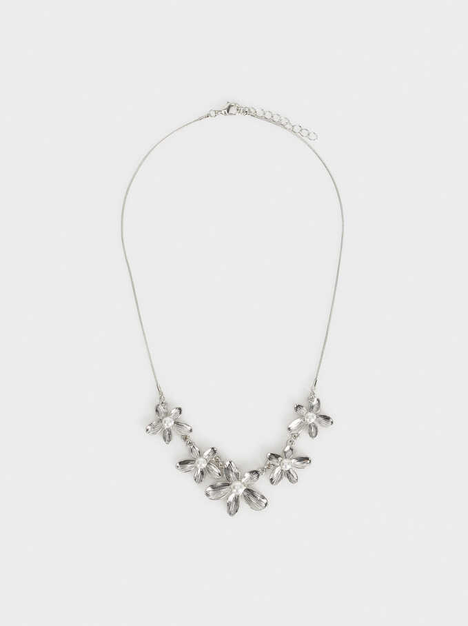 Silver Delicates Floral Short Necklace, White, hi-res