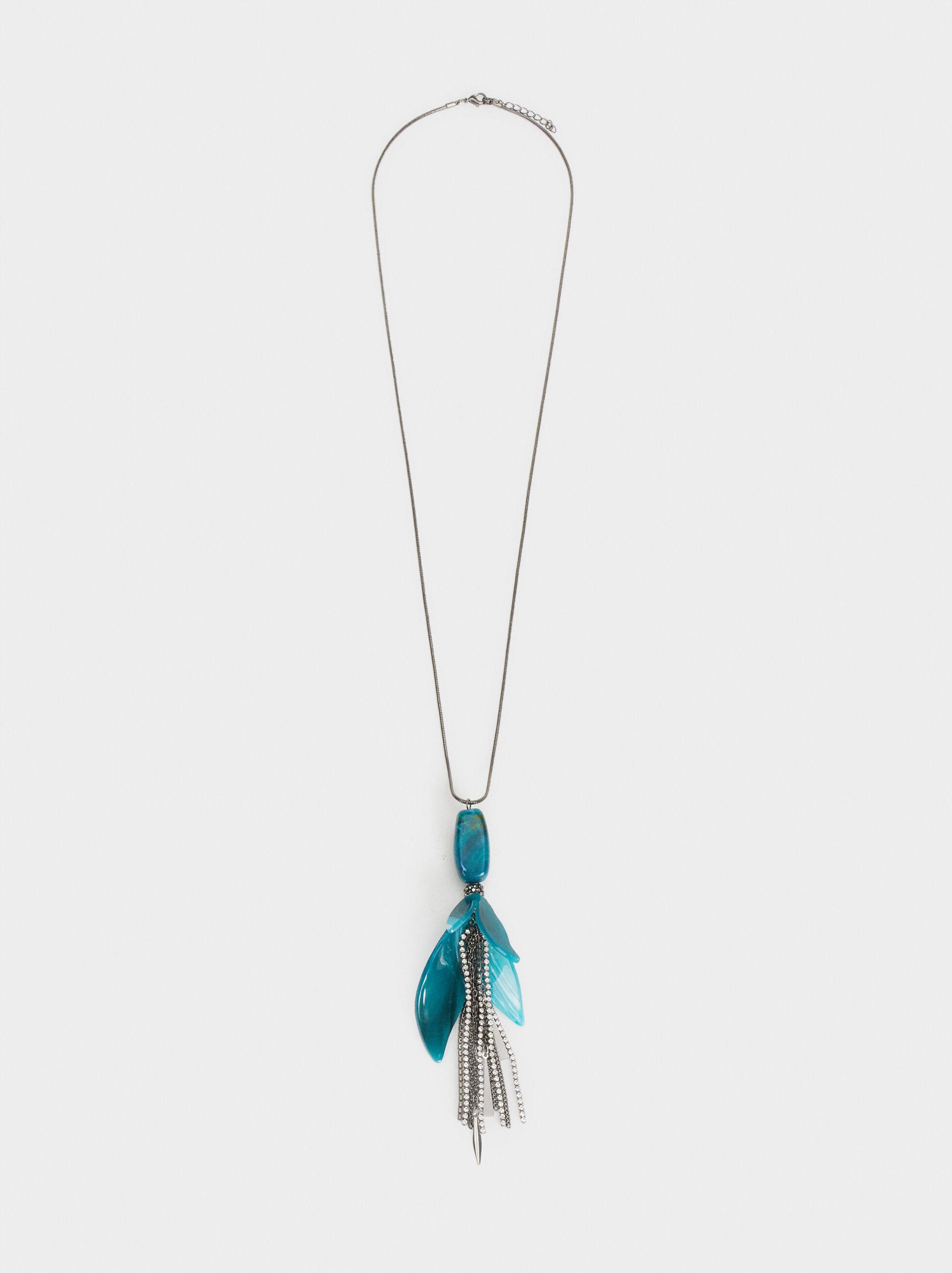 Botanic Party Long Necklace, Grey, hi-res