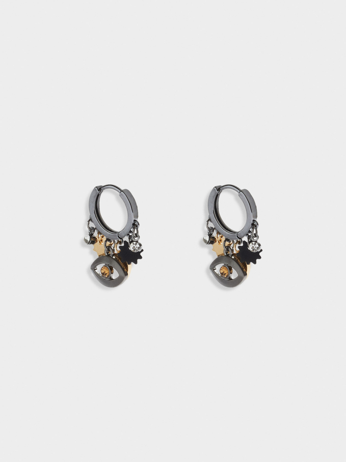 Short Hoops With Eye And Charms, Black, hi-res