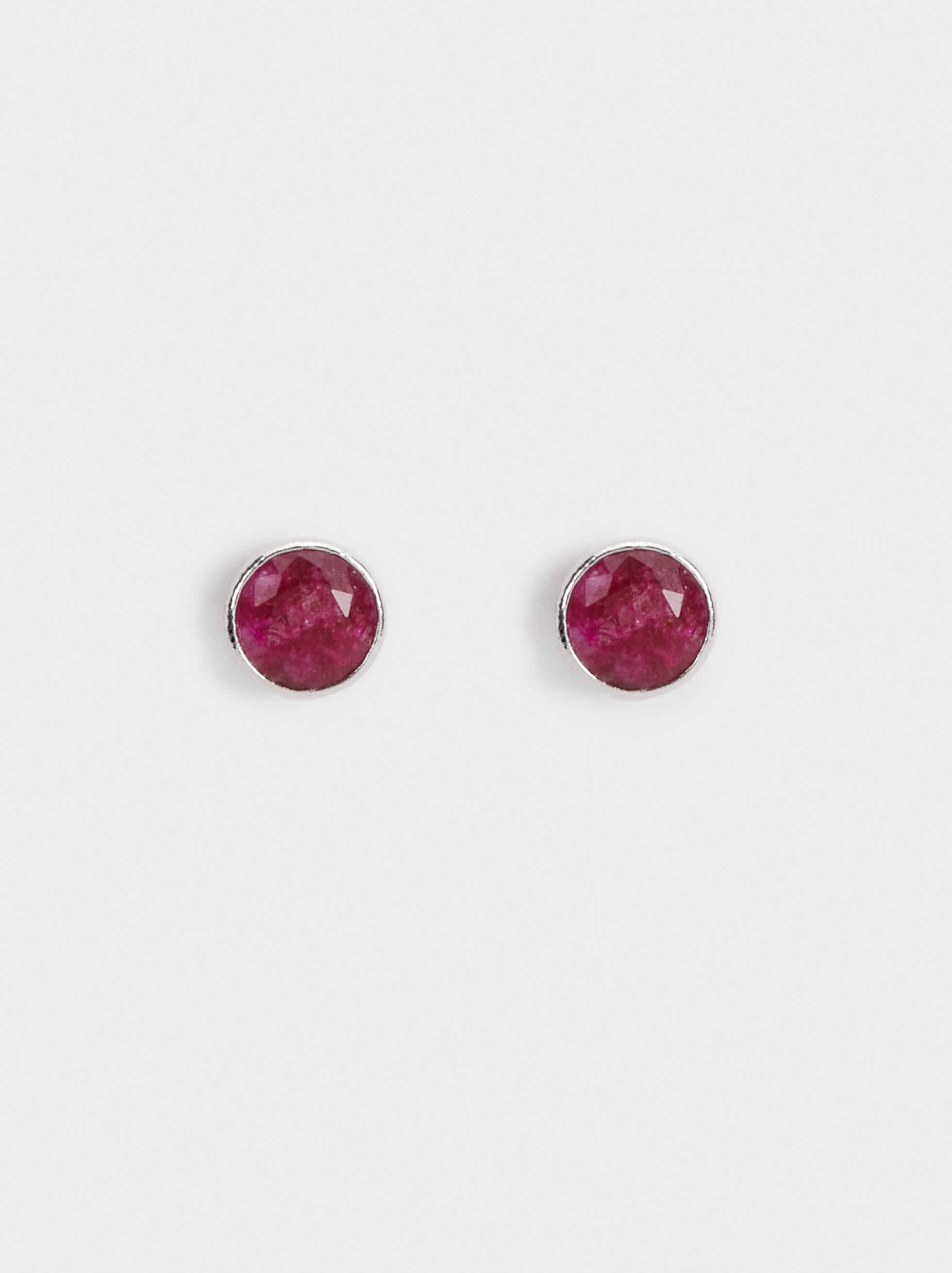 925 Silver Earrings With Stone, Bordeaux, hi-res