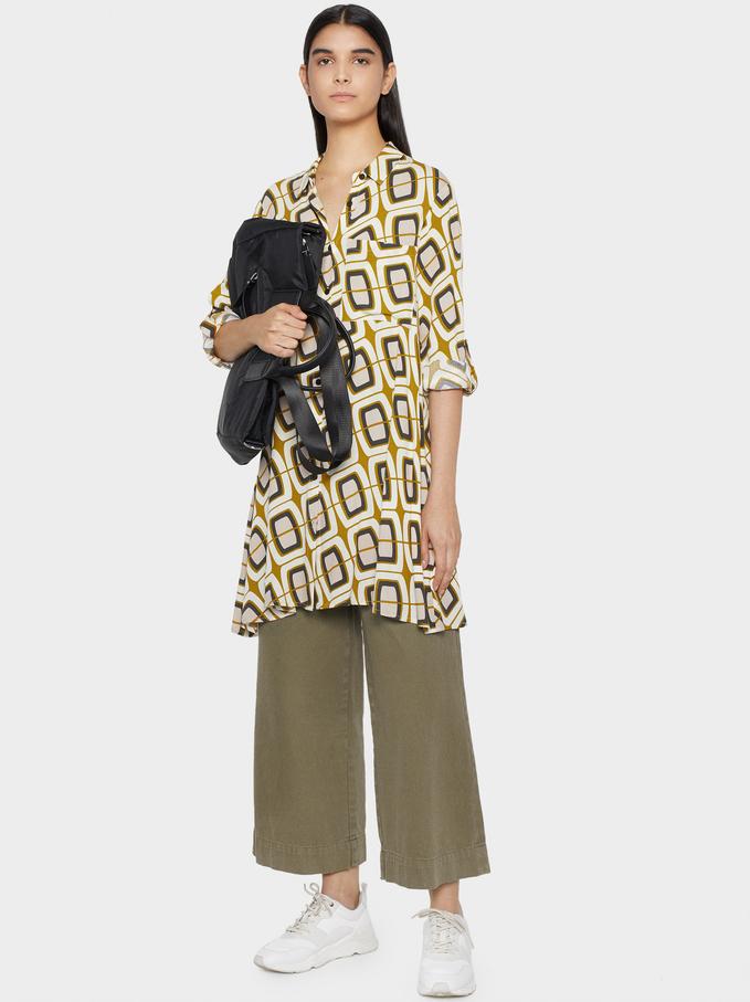 Printed Dress, Ecru, hi-res