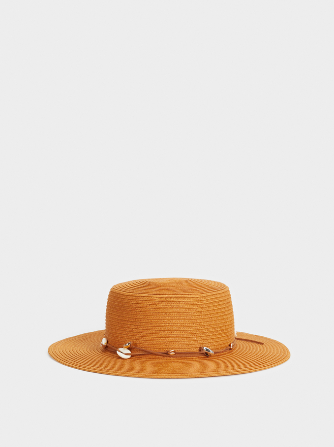 Hat With Decorative Seashells, Orange, hi-res