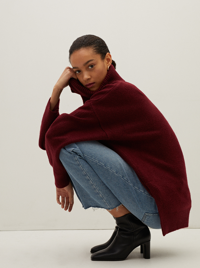 Limited Edition Knitted High Neck Sweater, Bordeaux, hi-res