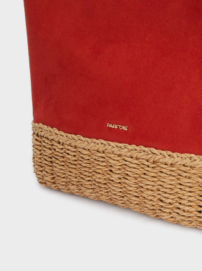 Bucket Bag With A Textured Raffia Base, Brick Red, hi-res