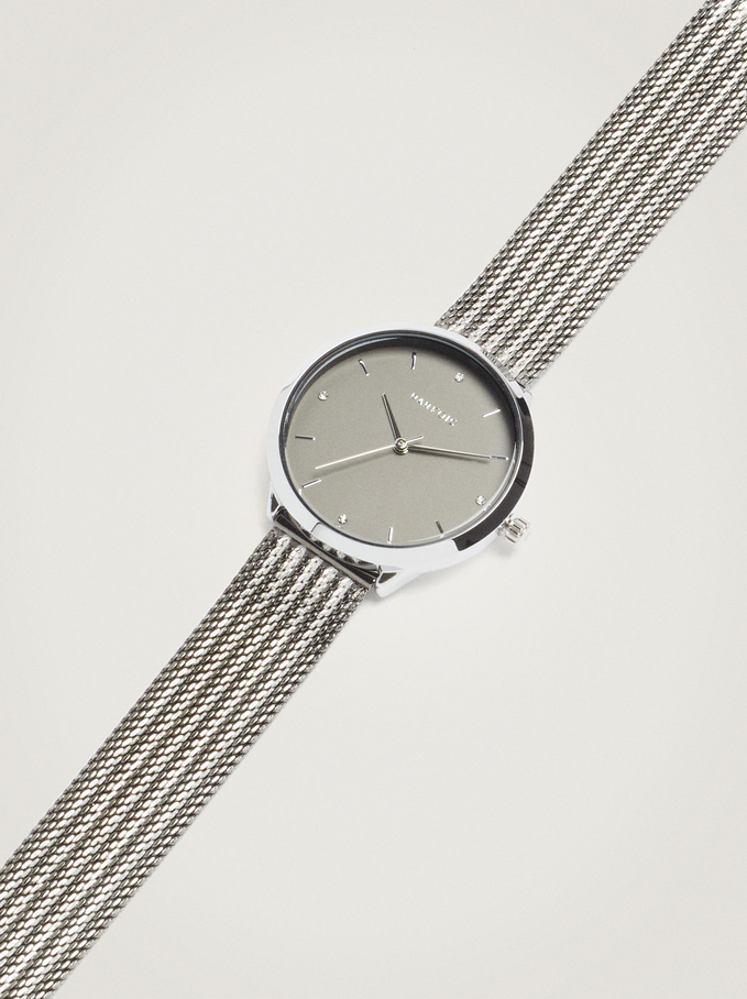 Watch With Two-Toned Steel Strap, Silver, hi-res