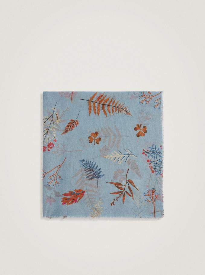 Pañuelo Con Estampado Floral, Azul, hi-res