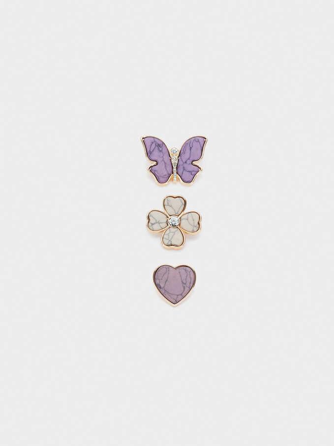 Conjunto De Broches Con Concha Y Cristales, Violeta, hi-res