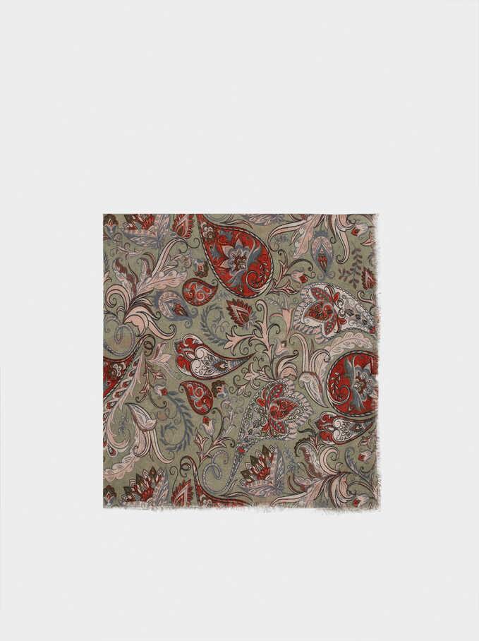 Paisley Print Scarf, Green, hi-res