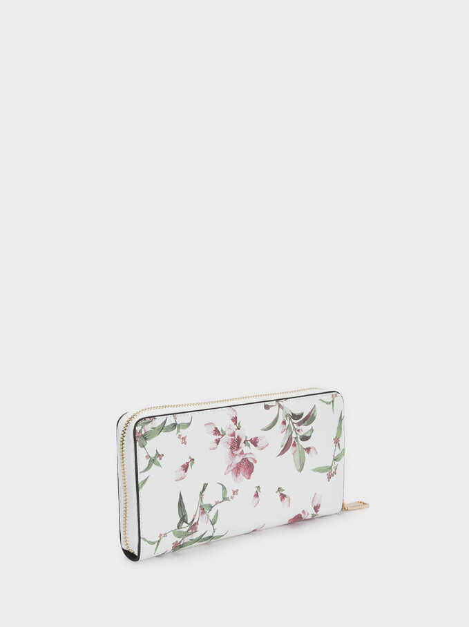Long Floral Print Purse, Ecru, hi-res